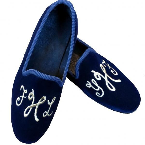 Handmade Men Custom Intitials Embroiered Velvet Loafer Slipper,Get your Initials