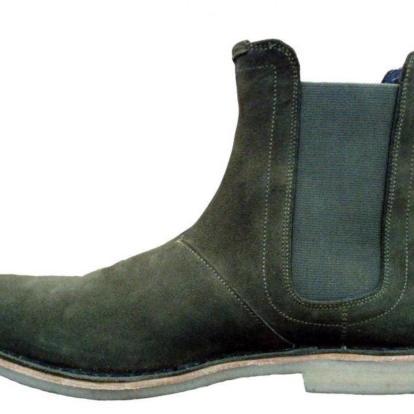 New Handmade Mens Green Chelsea Suede Leather Boots with Crepe Sole, Men Boots