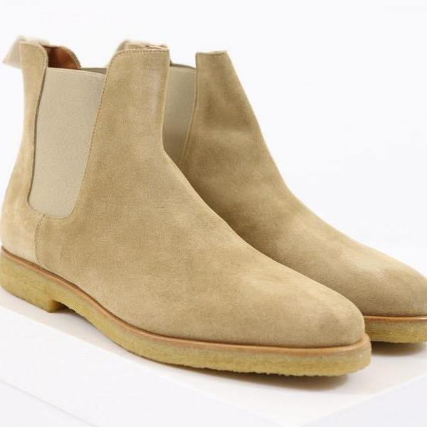 New Handmade Mens Beige Chelsea Suede Leather Boots, Men boot with Crepe Sole