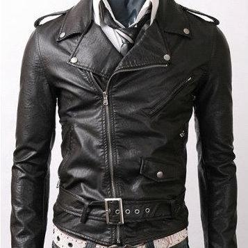 Handmade New Men Brando Style Slim Fit Leather Jacket, Leather jacket for men