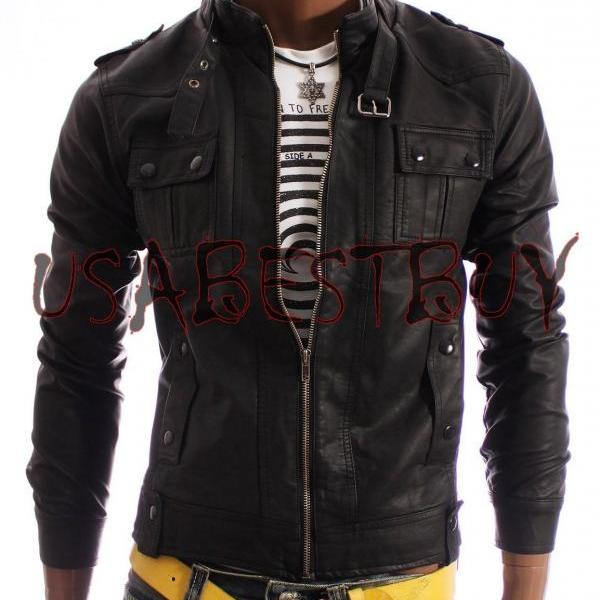 Handmade New Men Stylish Latest Strap Pocket Bomber Leather Jacket, Biker Jacket