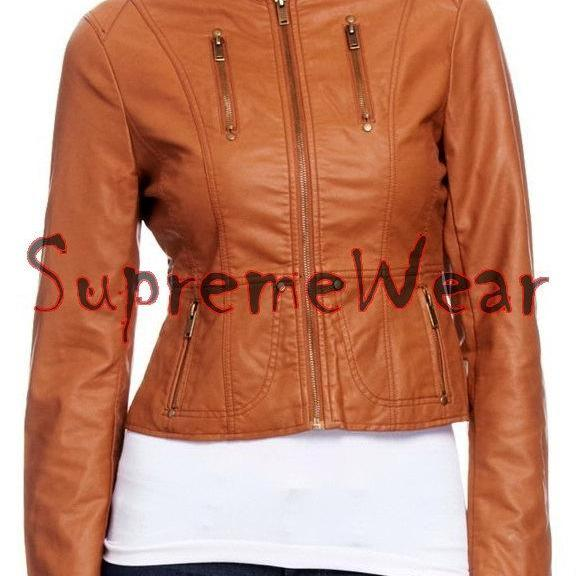 New Handmade Women Slim Fitted Brown Leather Jacket