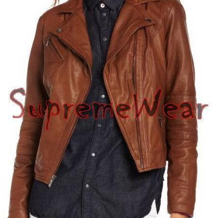New Handmade Women Fine Stitching Design Stylish Leather Jacket, Women leather j
