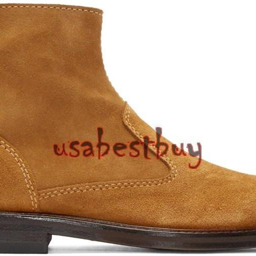 New Handmade Latest Style Ankle Brown Pure Leather Boots, Men suede leather boot
