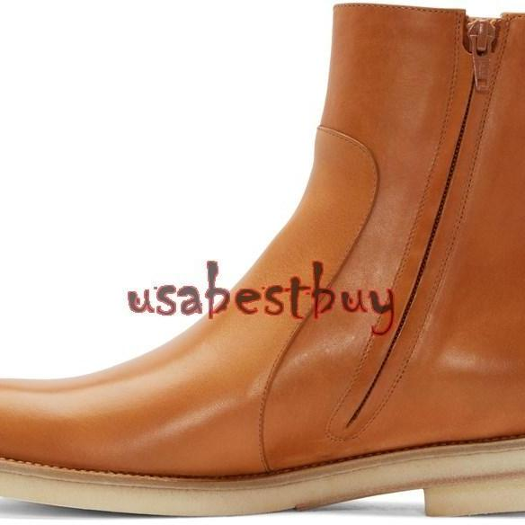 New Handmade Latest Style Ankle Brown Pure Leather Boots, Men real leather boots