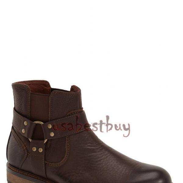 New Handmade Chelsea Buckle Style Genuine Leather Boots, Men real leather boots