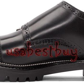 New Handmade Classic Brogue Monk Style Leather Black Dress Shoes, shoes for men