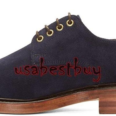 New Handmade Classic Style Suede Leather Navy Blue Shoes, men leather shoes